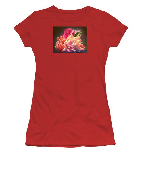 Yellow And Pink Roses Women's T-Shirt (Athletic Fit)