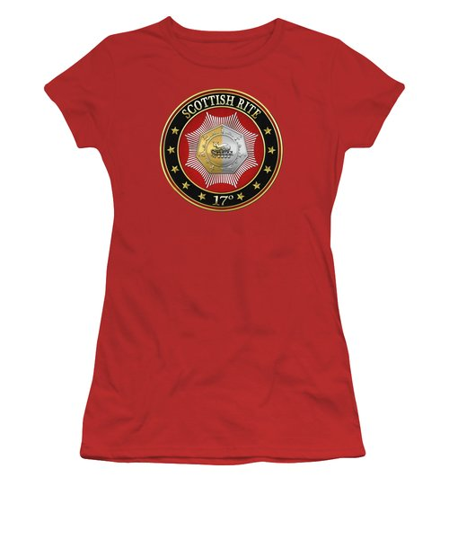 17th Degree - Knight Of The East And West Jewel On Red Leather Women's T-Shirt (Junior Cut) by Serge Averbukh