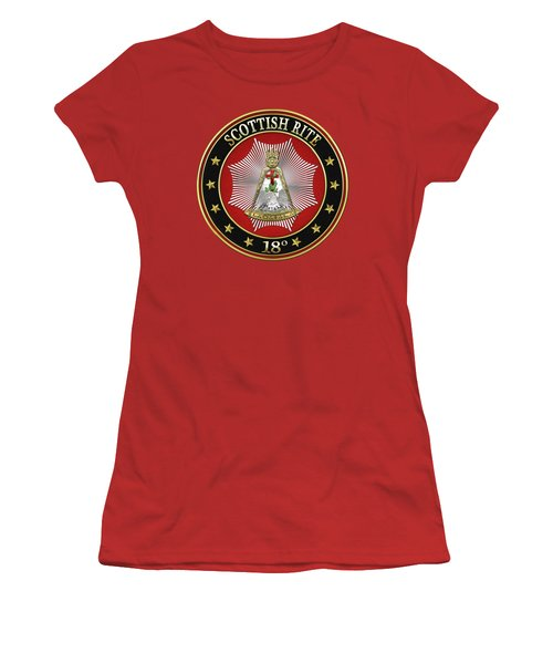 18th Degree - Knight Rose Croix Jewel On Red Leather Women's T-Shirt (Junior Cut) by Serge Averbukh