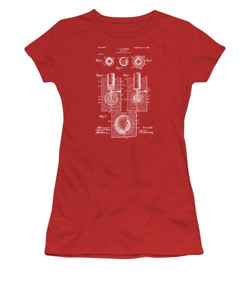 1902 Golf Ball Patent Artwork Red Women's T-Shirt (Junior Cut) by Nikki Marie Smith