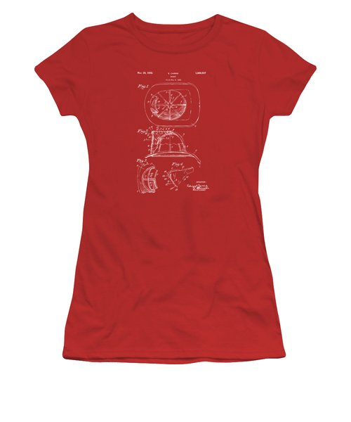 1932 Fireman Helmet Artwork Red Women's T-Shirt (Junior Cut) by Nikki Marie Smith
