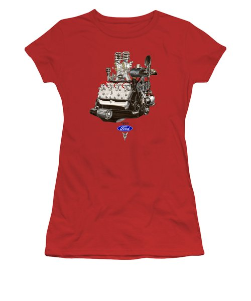 1934 Ford Flathead V 8 Tee Shirt Women's T-Shirt (Junior Cut) by Jack Pumphrey
