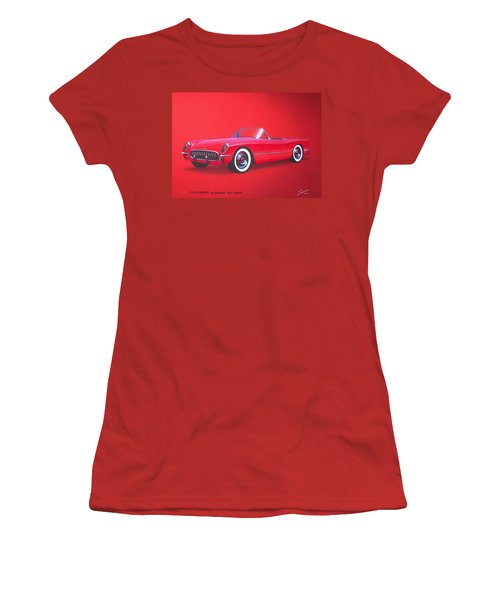 1953 Corvette Classic Vintage Sports Car Automotive Art Women's T-Shirt (Junior Cut) by John Samsen