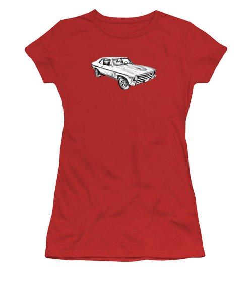 1969 Chevrolet Nova Yenko 427 Muscle Car Illustration Women's T-Shirt (Junior Cut) by Keith Webber Jr