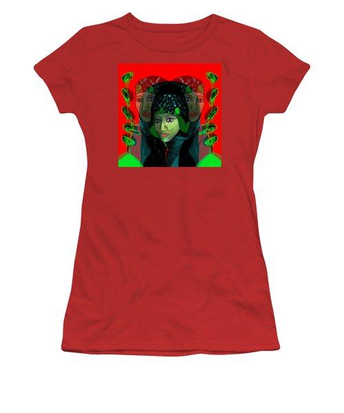 Women's T-Shirt (Junior Cut) featuring the digital art 1975 - Mystery Woman by Irmgard Schoendorf Welch