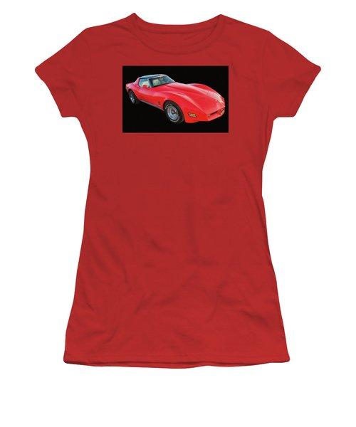 1977 Chevy Corvette T Tops Digital Oil Women's T-Shirt (Athletic Fit)