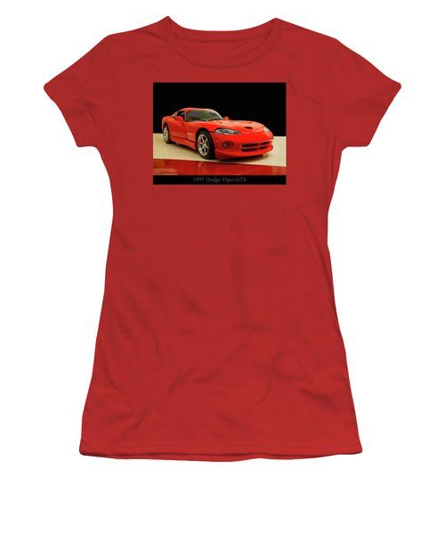 Women's T-Shirt (Junior Cut) featuring the digital art 1997 Dodge Viper Gts Red by Chris Flees