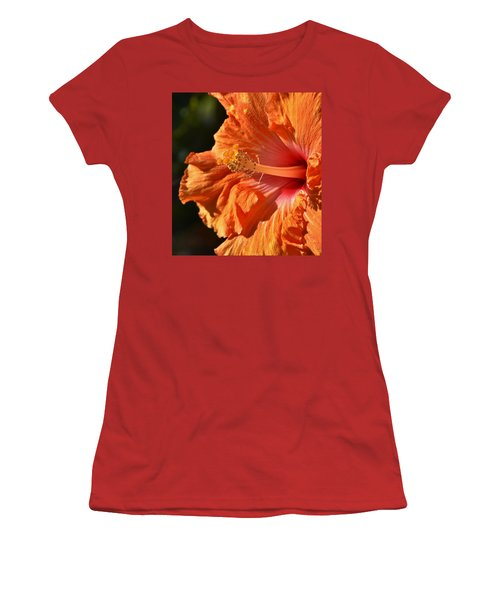 orange Hibiscus blossom Women's T-Shirt (Athletic Fit)