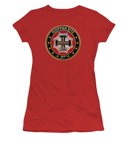 27th Degree - Knight Of The Sun Or Prince Adept Jewel On Red Leather Women's T-Shirt (Athletic Fit)