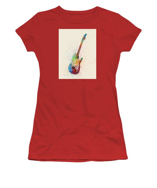 Electric Guitar Abstract Watercolor Women's T-Shirt (Athletic Fit)