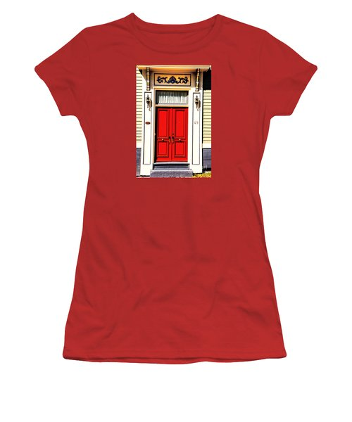 Women's T-Shirt (Junior Cut) featuring the photograph Red Door by Rick Bragan