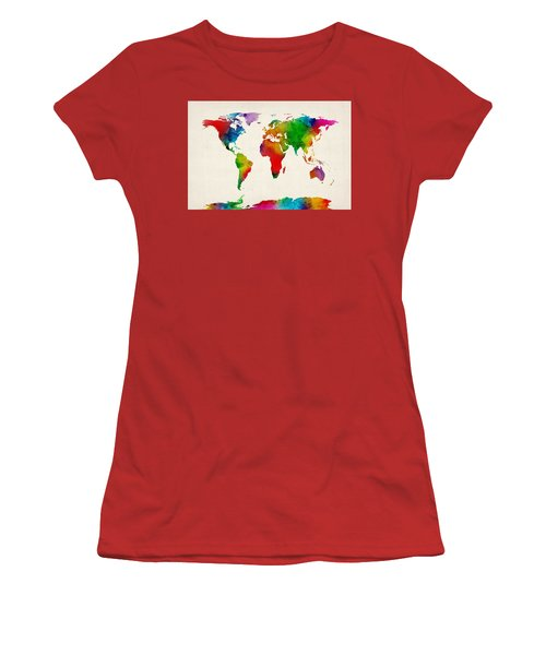 Women's T-Shirt (Junior Cut) featuring the digital art Watercolor Map Of The World Map by Michael Tompsett