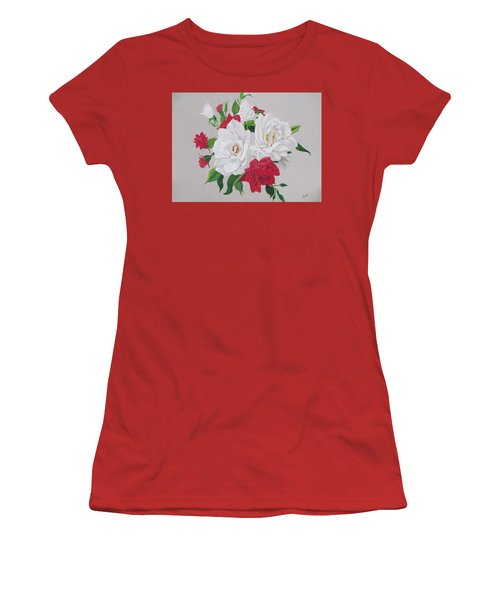 Women's T-Shirt (Junior Cut) featuring the painting A New Rose Bouquet by Hilda and Jose Garrancho