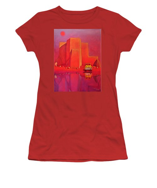 A Yellow Truck With A Red Moon In Ranchos Women's T-Shirt (Athletic Fit)