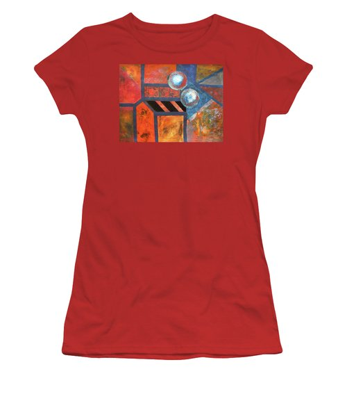 Women's T-Shirt (Junior Cut) featuring the mixed media Abstract Autumn by Riana Van Staden