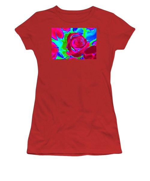 Abstract Burgundy Roses Women's T-Shirt (Junior Cut) by Karen J Shine