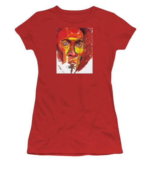 Women's T-Shirt (Junior Cut) featuring the painting Afro by Shungaboy X