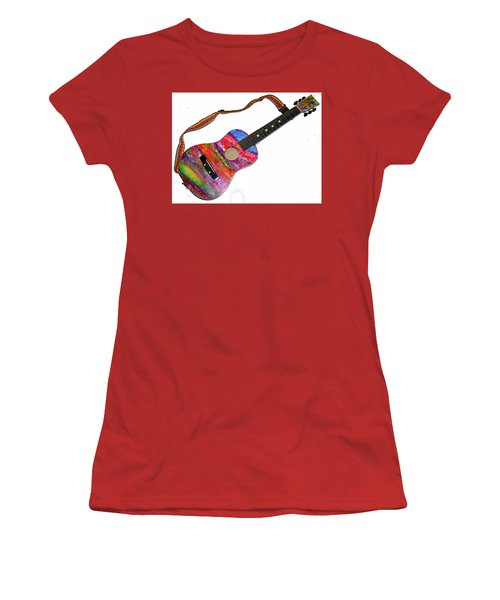 Alcohol Ink Guitar Women's T-Shirt (Junior Cut) by Alene Sirott-Cope