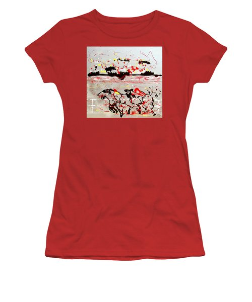 Women's T-Shirt (Junior Cut) featuring the mixed media And Down The Stretch They Come by J R Seymour