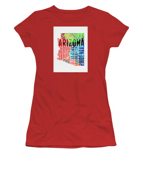 Arizona Watercolor Word Cloud Map  Women's T-Shirt (Athletic Fit)