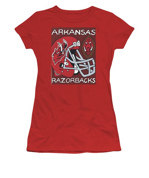 Arkansas Razorbacks Women's T-Shirt (Junior Cut) by Jonathon Hansen