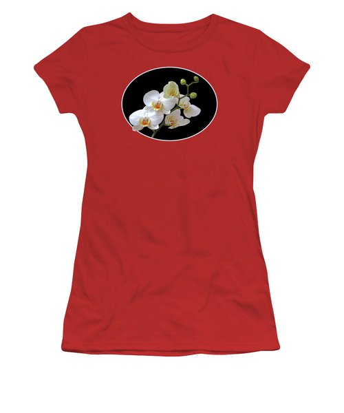 Orchids On Black And Red Women's T-Shirt (Junior Cut) by Gill Billington