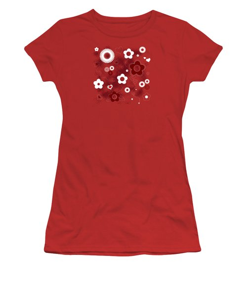 Floral And Hearts Valentine Pattern Women's T-Shirt (Junior Cut) by Serena King