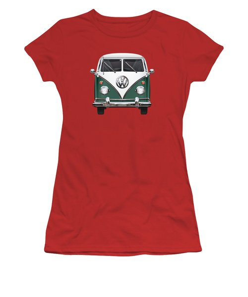 Volkswagen Type 2 - Green And White Volkswagen T 1 Samba Bus Over Red Canvas  Women's T-Shirt (Junior Cut) by Serge Averbukh