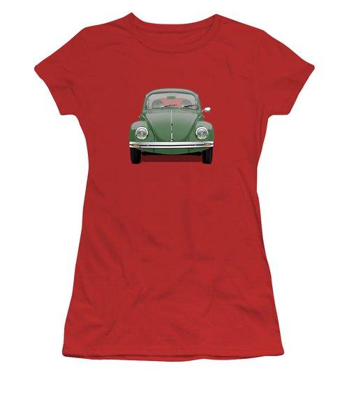 Volkswagen Type 1 - Green Volkswagen Beetle On Red Canvas Women's T-Shirt (Athletic Fit)