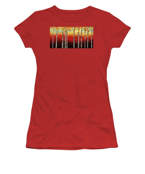 Women's T-Shirt (Junior Cut) featuring the painting Autumn Birch Trees by Carmen Guedez