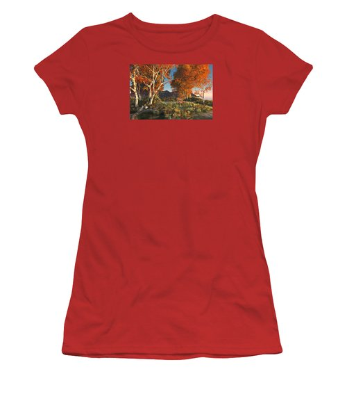 Women's T-Shirt (Athletic Fit) featuring the digital art Autumn Fawns by Mary Almond