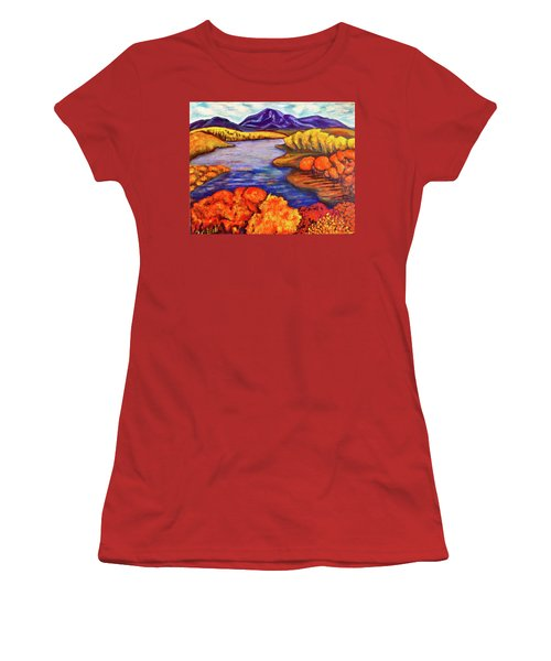 Women's T-Shirt (Junior Cut) featuring the painting Autumn Hues by Rae Chichilnitsky