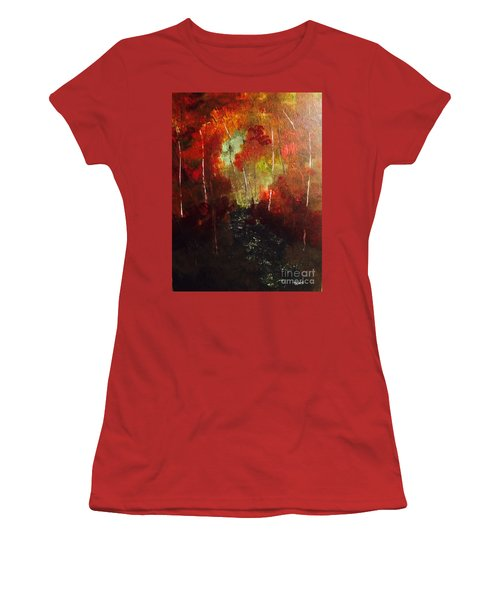 Women's T-Shirt (Athletic Fit) featuring the painting Sunset Trail by Denise Tomasura