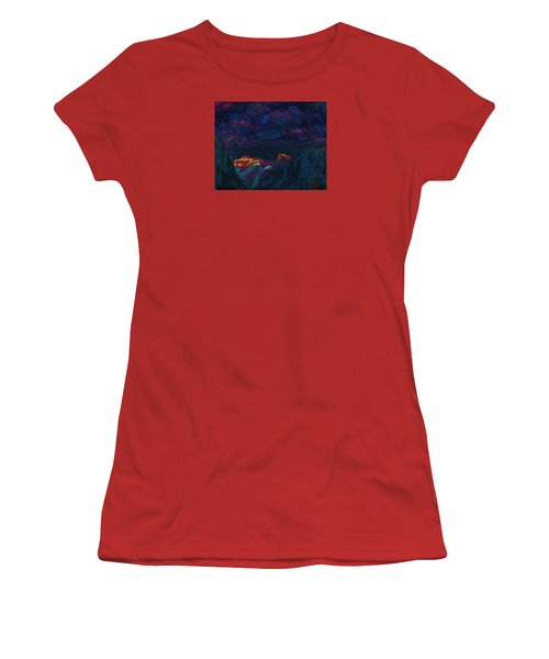 Women's T-Shirt (Junior Cut) featuring the mixed media Autumn Sunset Over Half Dome 2013 B by Walter Fahmy