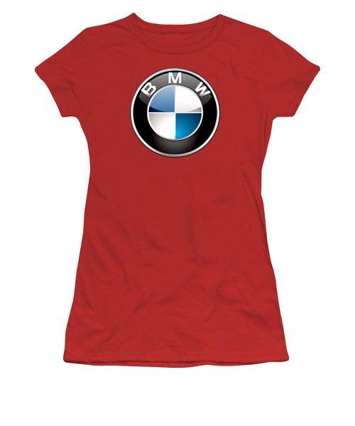 B M W Badge On Red  Women's T-Shirt (Junior Cut) by Serge Averbukh