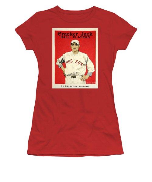 Babe Ruth Cracker Jack Card Women's T-Shirt (Junior Cut) by Jon Neidert