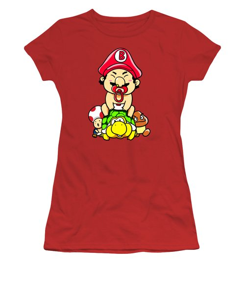 Baby Mario And Friends Women's T-Shirt (Junior Cut) by Paws Pals