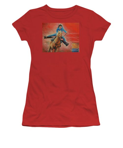 Barrel Racing Women's T-Shirt (Junior Cut) by Jeanette French