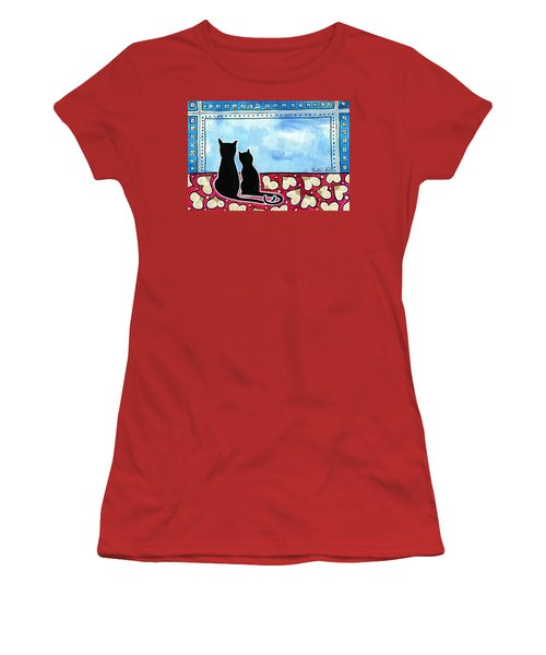 Women's T-Shirt (Athletic Fit) featuring the painting Be My Valentine - Black Cat Card by Dora Hathazi Mendes