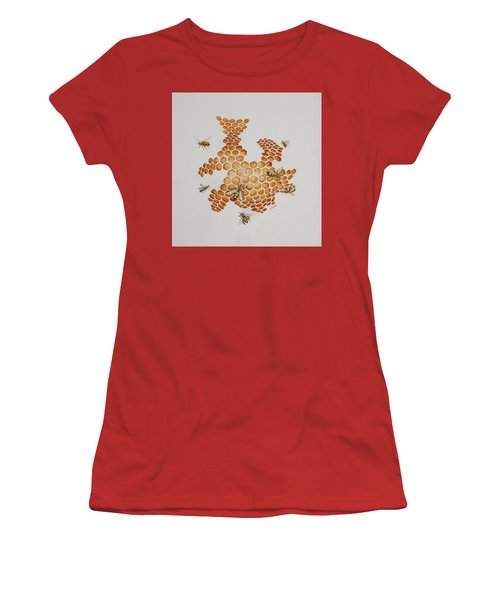 Women's T-Shirt (Junior Cut) featuring the painting Bee Hive # 1 by Katherine Young-Beck