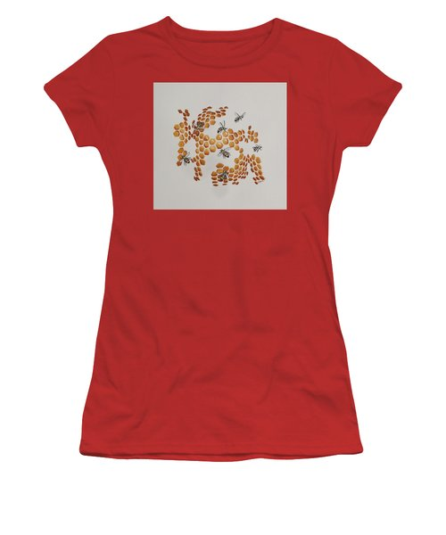 Women's T-Shirt (Junior Cut) featuring the painting Bee Hive # 2 by Katherine Young-Beck