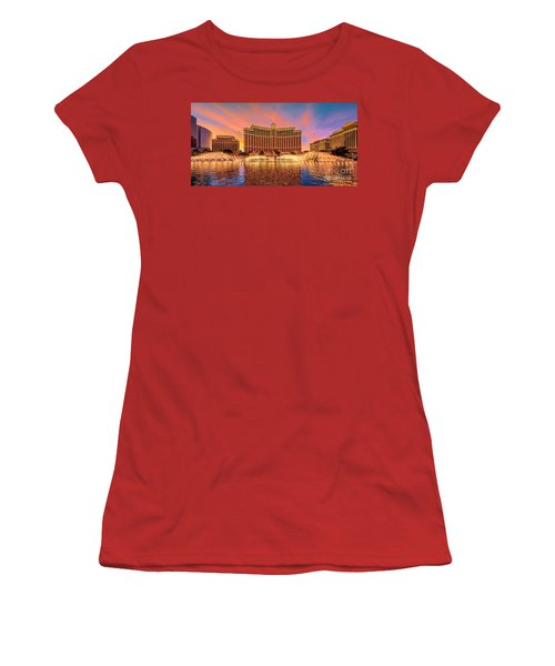Bellagio Fountains Warm Sunset 2 To 1 Ratio Women's T-Shirt (Athletic Fit)