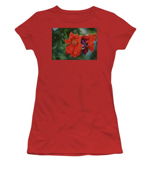 Women's T-Shirt (Junior Cut) featuring the painting Blooming Poms by Marna Edwards Flavell