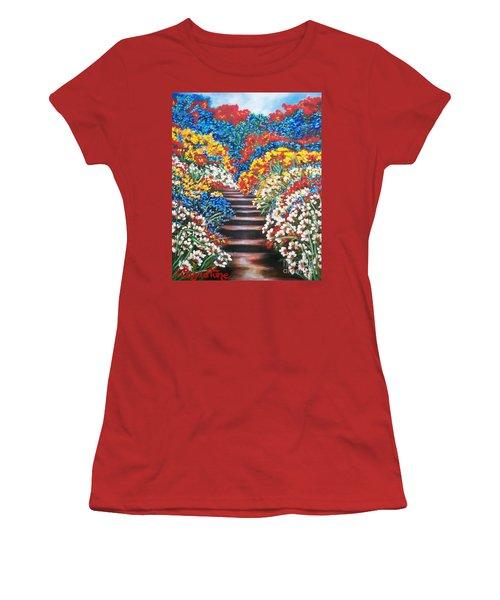 Women's T-Shirt (Junior Cut) featuring the painting Blue Garden Cascade by Sigrid Tune