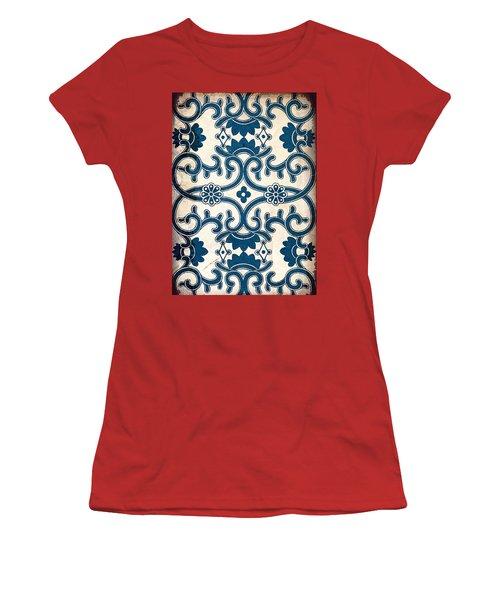 Blue Oriental Vintage Tile 02 Women's T-Shirt (Athletic Fit)