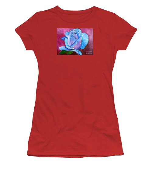 Blue Rose With Dew Drops Women's T-Shirt (Junior Cut) by Jenny Lee