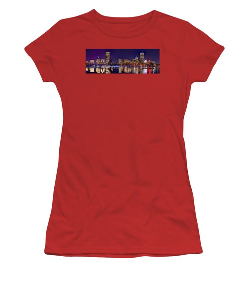 Women's T-Shirt (Junior Cut) featuring the photograph Boston Back Bay Skyline At Night 2017 Color Panorama 1 To 3 Ratio by Jon Holiday