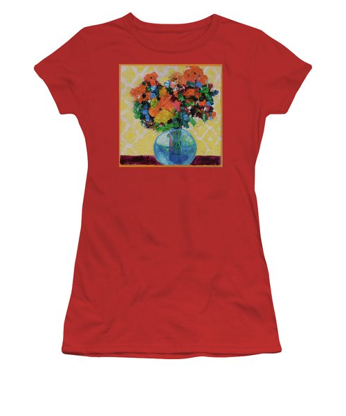 Women's T-Shirt (Junior Cut) featuring the painting Bouquet-a-day #7 Original Acrylic Painting Free Shipping 59.00 By Elaine Elliott by Elaine Elliott