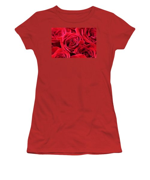 Bouquet Of Red Roses Women's T-Shirt (Junior Cut) by Peggy Collins