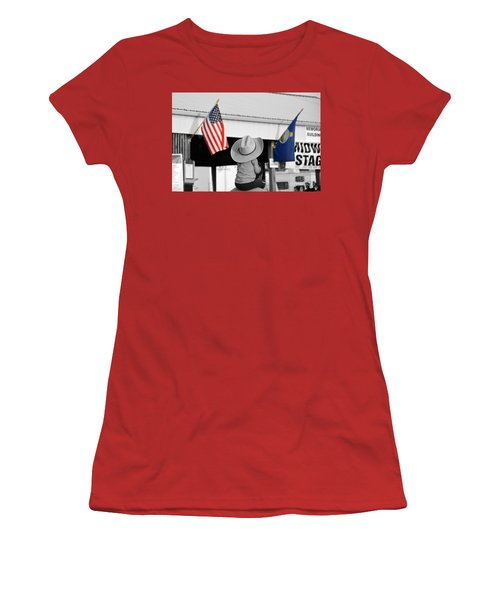 Boy With Two Flags Women's T-Shirt (Junior Cut) by Catherine Sherman